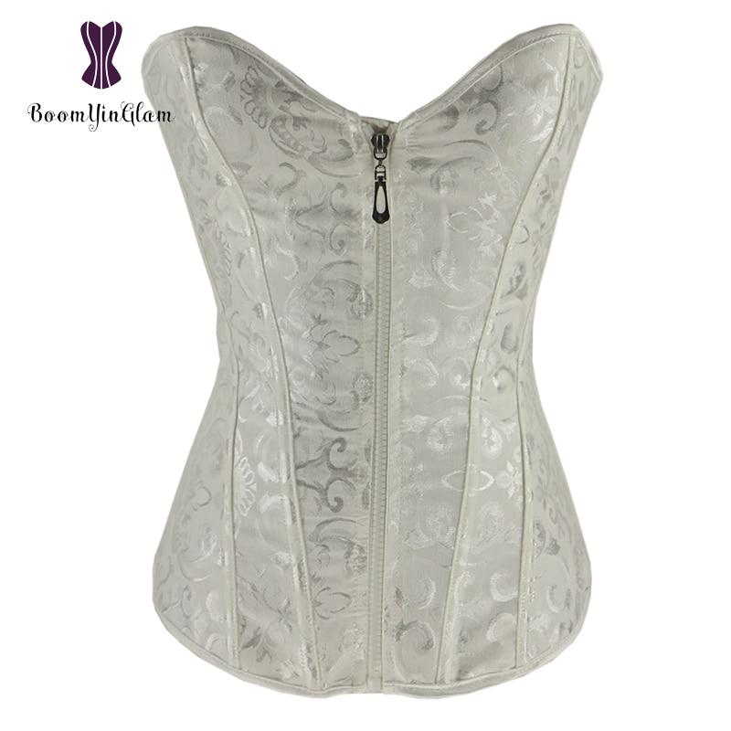 Zip Up Women Lingerie Bustier Slimming Body Shapewear Lace Up Boned Corset Overbust Top Size S-xxl 8191# Bustiers & Corsets