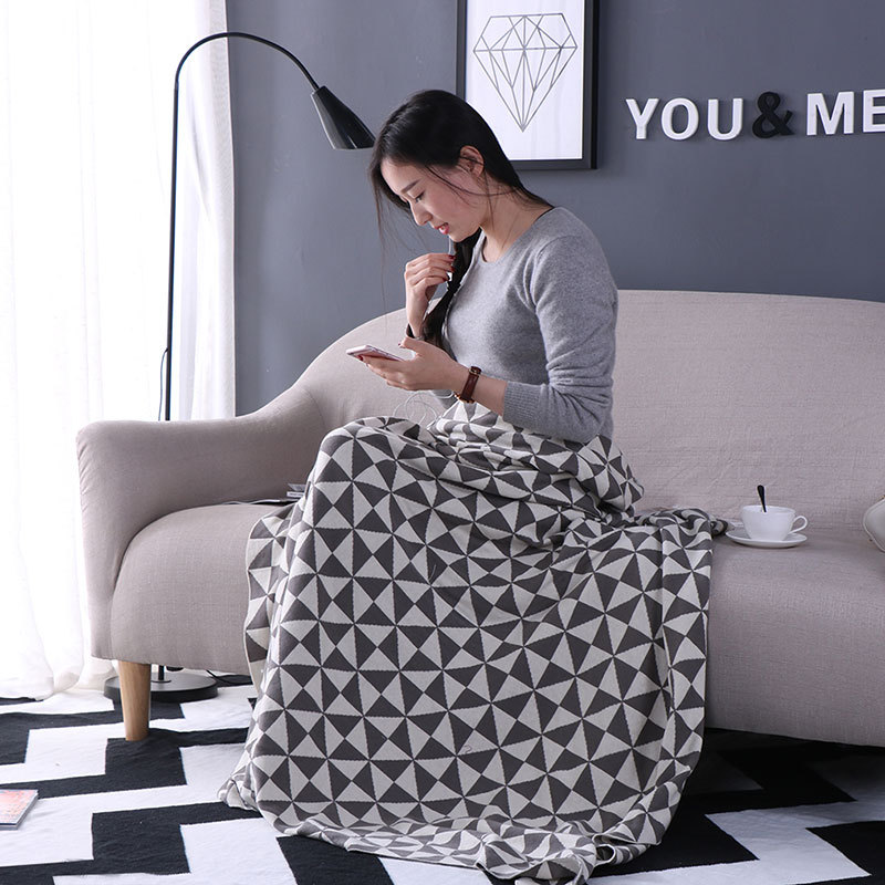 CHAUSUB High Quality Cotton Knit Blankets Nordic Simple Blanket For Home Sofa Cover Throw Anti-pilling Knitted Blanket Gray  цены