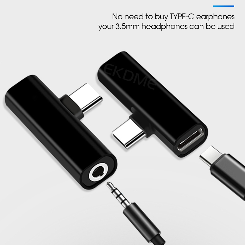USB Type-C Audio Charging Adapter 2 In 1 Type C Male To Female 3.5mm Headphone Jack + Charging Converter For Xiaomi Adapter
