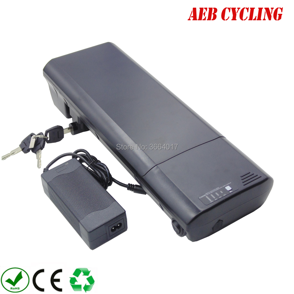 China electric bicycle 18650 Lithium ion battery pack 36V 13.2Ah SL rear rack battery for city bike folding bike with charger