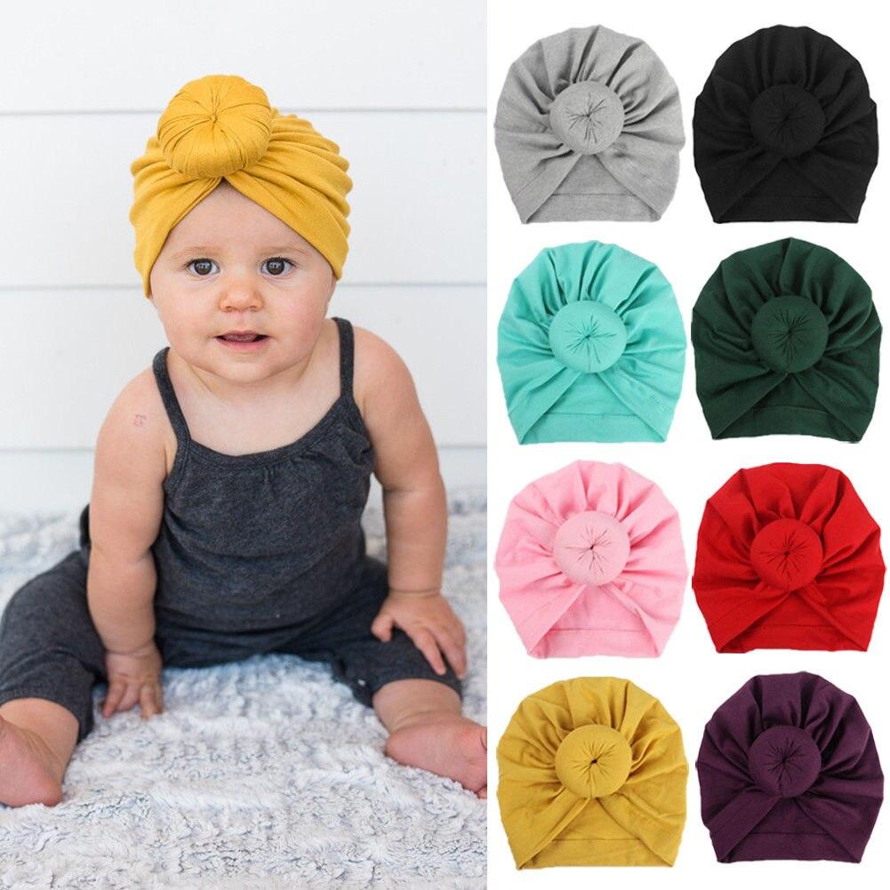 NewToddler Baby Kids Boy Girl Turban Cotton Beanie Hat Winter Warm Cap