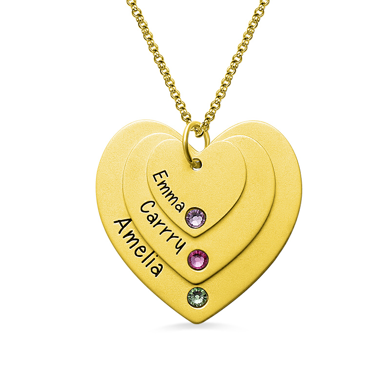 AILIN Personalized Engraved Triple Heart Necklace with Birthstones Gold Color Layered Heart Necklace rhinestone metal heart bar layered pendant necklace