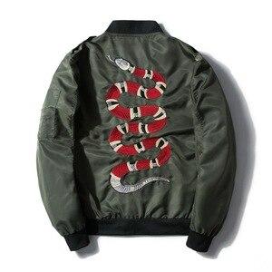 Image 3 - Mannan Herfst 2018 Jas Snake Borduren Jas Dunne Mannen Hip Hop High Street Streetwear Geborduurde Koppels Baseball Jas