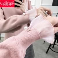 Korean sweet chiffon splicing loose sweater jacket fashionable knit shirt backing pearls mesh flare sleeve turtleneck sweaters