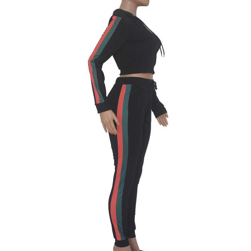 2 2 個セットパーカートラックスーツ女性ジョギング汗スーツ衣装長袖トラックパンツサイドストライプ服服作物トップ