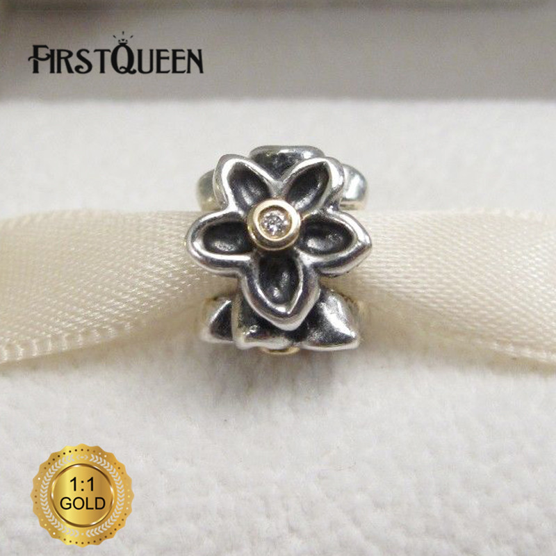 FirstQueen Silver and Gold Flower Charm Bead Fit Original Bracelets DIY Charms For Jewelry Making Fine Jewelry