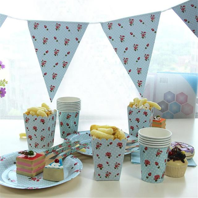 Birthday Wedding Party Disposable Tableware Blue Round Dotted Rose ...