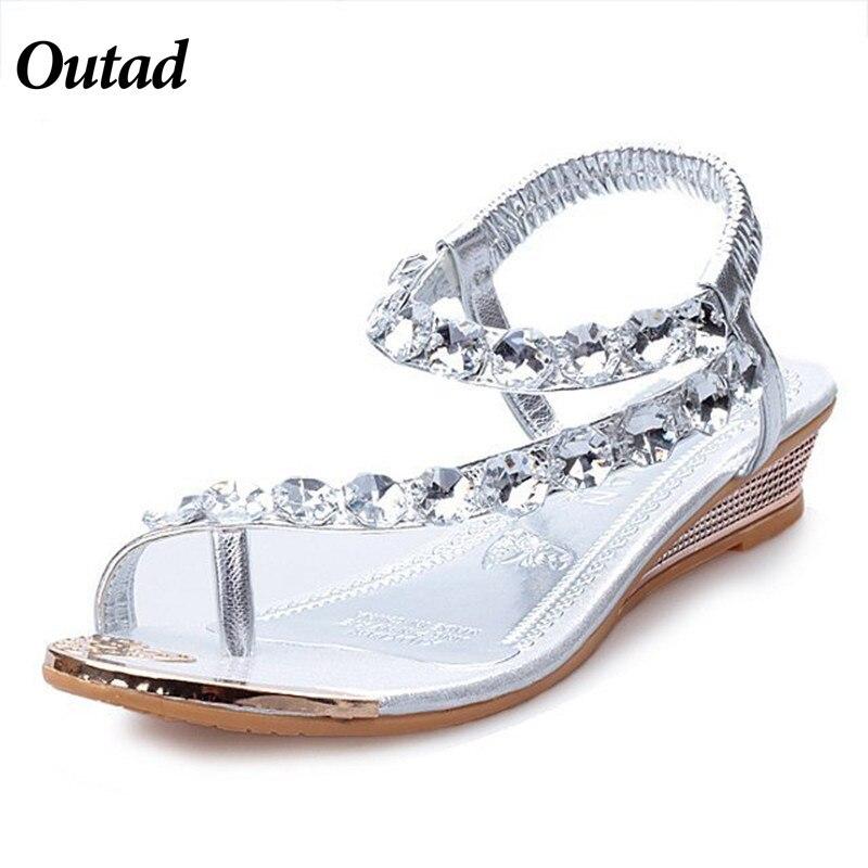Femmes Sandales silver Feminina Chaussures Outad Pu Sandalia Cristal Gold Bohême Appartements D'été De Flops Plage Dames Pour Doux Flip 34ARL5j