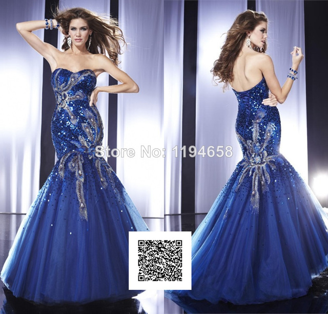 Beautiful 2014 Royal Blue Sweetheart Sequined Prom Dresses Organza ...