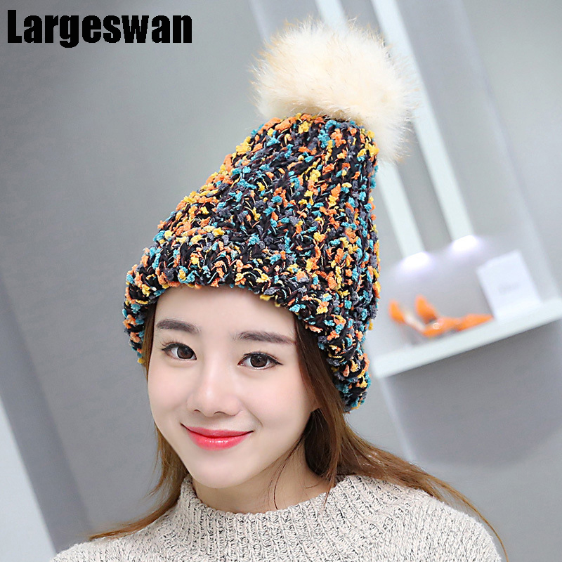 Largeswan 2017 Winter Knit Hat Plus Cashmere Lady Pom Poms Warm Skullies Beanies Fashion Knitted Hats For Women Gorro Brand plus poms winter hats for women thick warm skullies