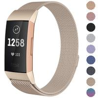 New Milanese loop bracelet For Fitbit charge 3 band charge 2 strap stainless steel smart watch   accessories     sports   wristbelt