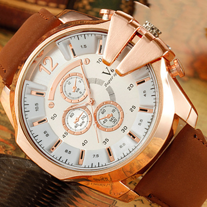 2015 V6 Brand big dial belt Men watch military fashion watches quartz sports Wristwatches gift - Mia shop store