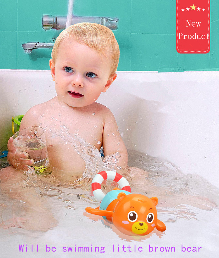 Hot toys children baby bath play cool tour bear swimming toys pull float small brown bear