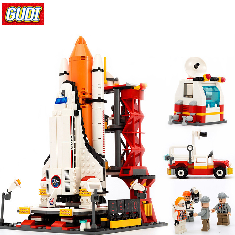 GUDI 8815 Assembly Building Blocks Compatible All Brand Space Shuttle Launch Center Model Blocks DIY Bricks Toys For Children loz architecture space shuttle mini diamond nano building blocks toys loz space shuttle diy bricks action figure children toys