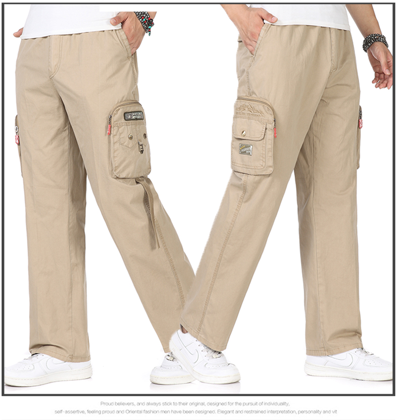 Man Casual Cargo Pants Black Gray Yellow Army Green Overall Mens Multi Baggy Pockets Tousers For Men Plus Size Pantalones (6)