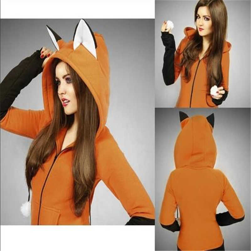 Cosplay Costume Fox Sweatshirt Women's Hoodie Long-Sleeved Rabbit Ears Hooded Sweatshirt Ladies Spring And Autumn Coat