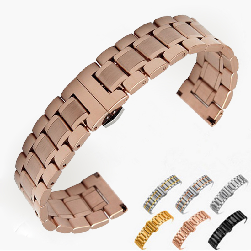 14mm 16mm 18mm 22mm 24mm Stainless Steel Watch band Strap Bracelet Watchband Wristband Butterfly clasps Rose Gold Silver