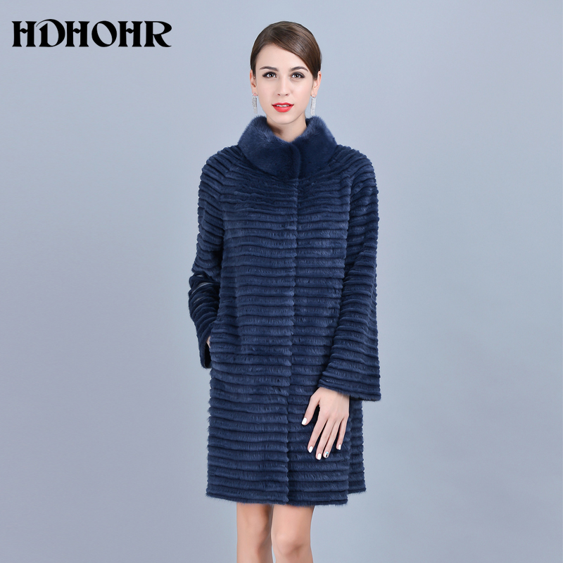 HDHOHR 2018 Лидер продаж реального норки пальто Для женщин теплый натуральный Kintted норковые шубы воротник-стойка норки куртки для женщин