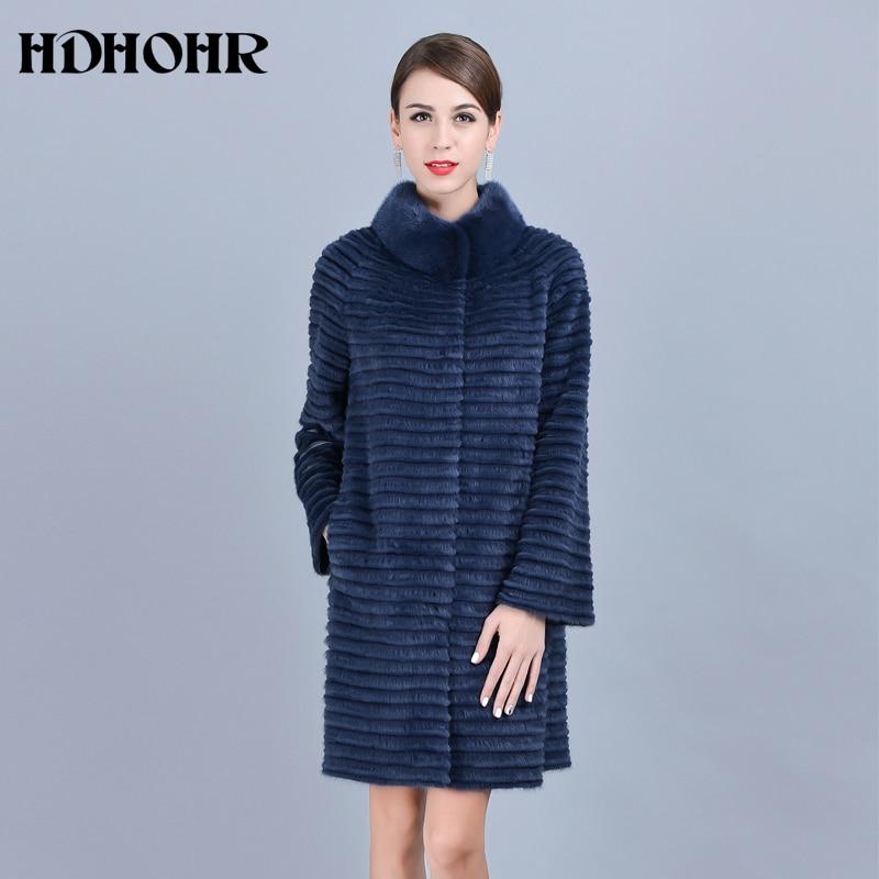 HDHOHR 2019 Hot Sale  Real Mink Fur Coats Women Warm Natural  Kintted Mink Coats Mandarin Collar Mink Fur Jackets  For Female