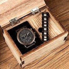 בובו ציפור עץ שעון וצמיד סט לגברים הכרונוגרף שעוני יד מתנת סט בשבילו orologio תפקידים pulsera hombre uomo