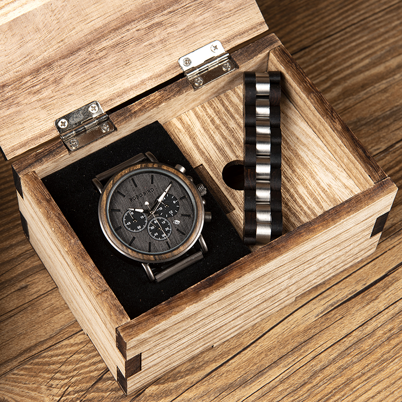 BOBO PÁSSARO Relógio De Madeira e Pulseira Conjunto para Homens Chronograph Relógio de Pulso Gift Set para Ele os papéis pulsera hombre orologio uomo