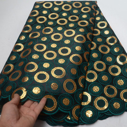 (5yards/pc) 2019 newest African double organza lace fabric in deep green with gold sequins embroidery for party dress OP114