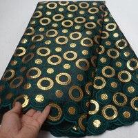 (5yards/adet) 2019 yeni afrika çift organze dantel kumaş derin yeşil ile altın sequins nakış parti elbise OP114|Dantel|   -
