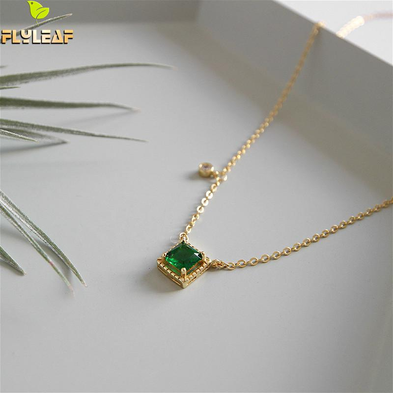 Flyleaf 925 Sterling Silver Necklace Women Square Emerald Cubic Zirconia Fashion Fine Jewelry Gold Simple Necklaces & Pendants