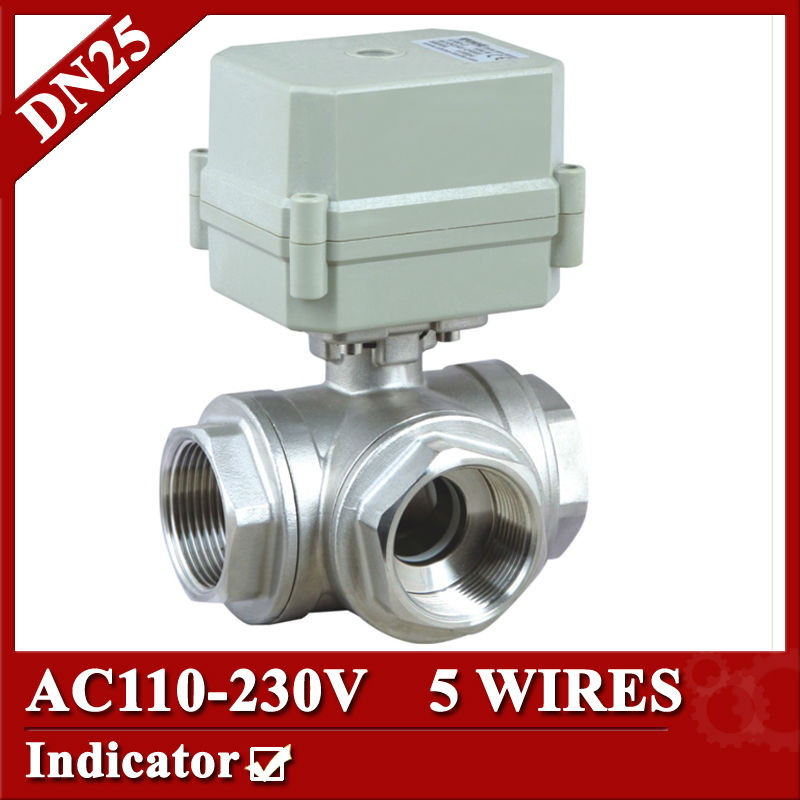 1 DN25 T port 3 way Miniature Electric motorized valve 5 wires(CR5 02), AC110V to 230V Mini electric valve signal feedback 1 2 ss304 electric ball valve 2 port 110v to 230v motorized valve 5 wires dn15 electric valve with position feedback