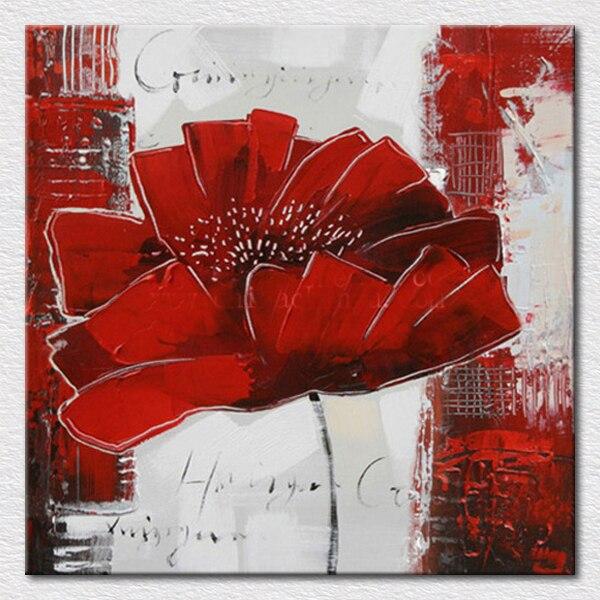 Achetez en Gros Rouge fleur peintures à l'huile toile en Ligne à des Grossistes Rouge fleur ...