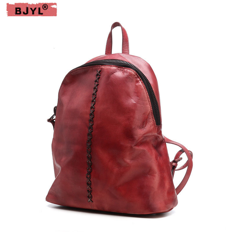 BJYL New retro cowhide Genuine Leather Women Backpacks wild female shoulder bag casual first layer of leather BackpackBJYL New retro cowhide Genuine Leather Women Backpacks wild female shoulder bag casual first layer of leather Backpack