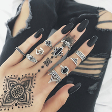 Tocona Vintage Antique Silver Rings Set Hollow Out Geometric Ring Sets Black Rhinestone Flower Knuckle Anillos Anel Ring 4839 tocona vintage antique silver big black rhinestone ring ethnic flower carving ring set steampunk knuckle ring women jewelry 4174