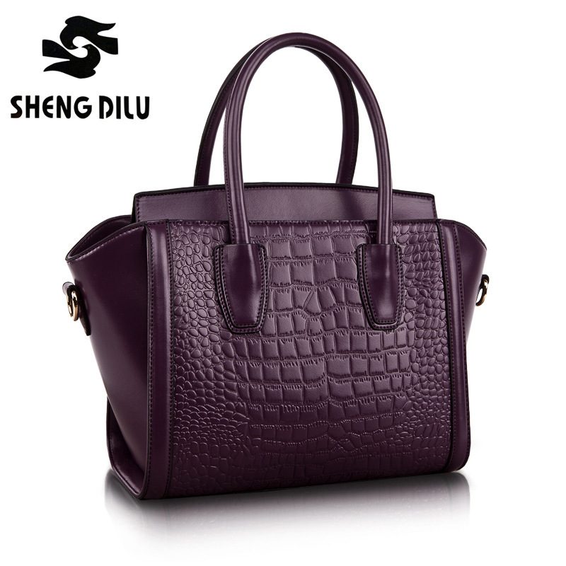 100%Genuine Leather Handbags Women Crocodile Handbag Messenger Shoulder Bags First Layer Cowhide Leather Zipper Party Bag purple bag female new genuine leather handbags first layer of leather shoulder bag korean zipper small square bag mobile messenger bags