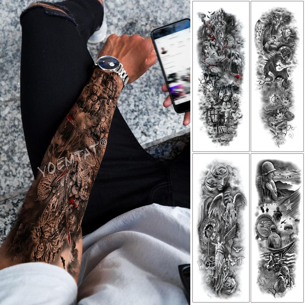 Large Arm Sleeve Tattoo Skull King Wild Leopard Waterproof Temporary Tattoo Sticker Warrior Soldier Men Full Skull Totem Tatoo