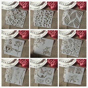 9Pcs/Set 14cm Rose Butterfly Coffee DIY Layering Stencils Painting Scrapbook Coloring Embossing Album Decorative Card Template