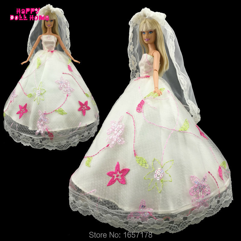 Gorgeous Wedding Party Dress Bride Veil Princess Lace Gown Clothes For Barbie Doll Accessories Dollhouse Costume Christmas Gift