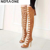 Sexy Women Shoes High Heels Gladiator Women Shoes Peep Toe Lace Up Thigh High Boots Summer