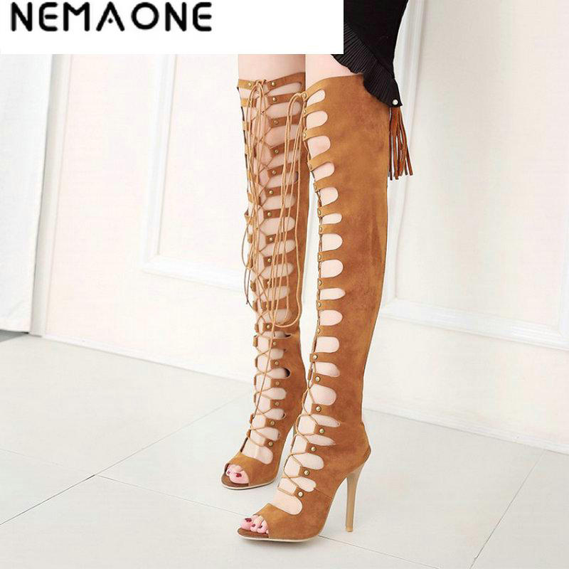 NEMAONE Women Shoes High Heels Women shoes Peep Toe Lace Up Thigh High Boots Summer Cut Outs Botas Over The Knee Bootie 2016 new arrive summer boots fashion peep toe thick high heels women boots cut outs platform shoes woman ankle boots for women