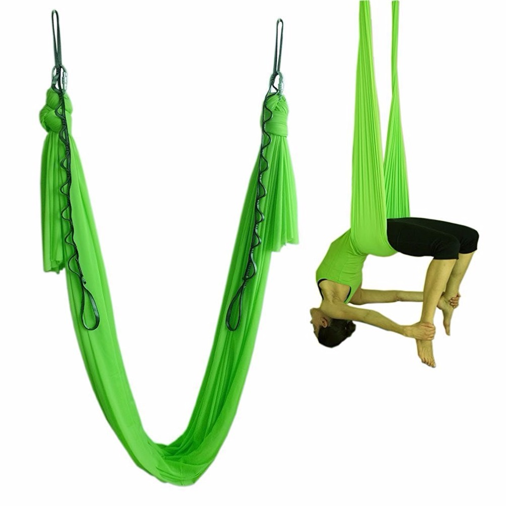 1 set free shipping 15 colors 2017 new style 5 m full set Aerial Anti-gravity Yoga Belt yoga hammock workout fitness equipment fitness padded gravity boots safety locking mechanism ankle hooks abdominal workout training hang up ab gym equipment