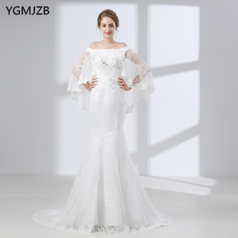 White Wedding Dress Jacket: White Lace Mermaid Wedding Dresses With Jacket Boat Neck