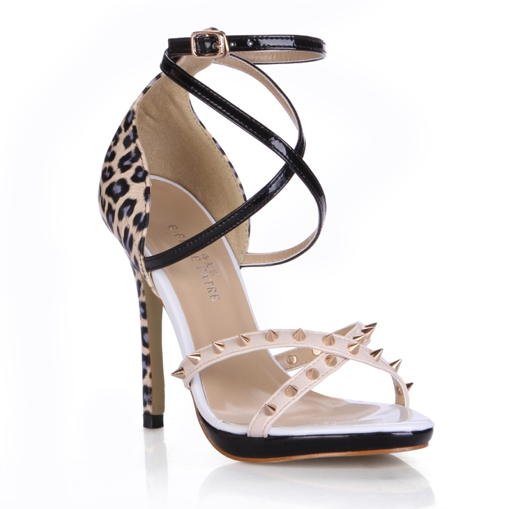 New Leopard Style Cover Heel Ankle Strap Buckle Cross Rivets Tied Prom Shoes Women Thin Heel High Size Lady Summer Sandals summer new fashion women sandals pearl uper high top thin heel lady shoes big size t show catwalk female footwear cover heeled
