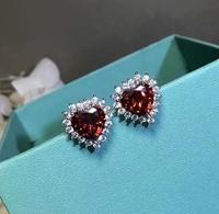 S925 Sterling Silver Ear Studs With And Peach Heart Studs Romantic Snd Loving Holiday Gifts