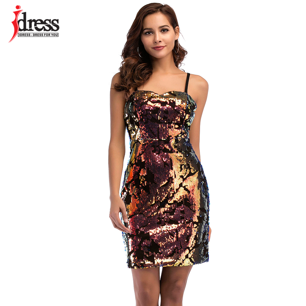 c7c8eab05fc67 US $17.49 20% OFF|IDress Free Shipping Plus Size Sexy Party Dresses Women  2018 Summer Vestidos Sequined Bodycon Dress Club Party Sequined Dress-in ...