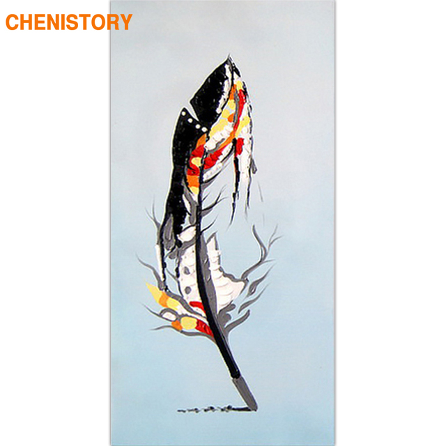 CHENISTORY Frame Feather DIY Painting By Numbers Large Size 60x120cm Abstract Acrylic Paint On Canvas For Living Room Artwork
