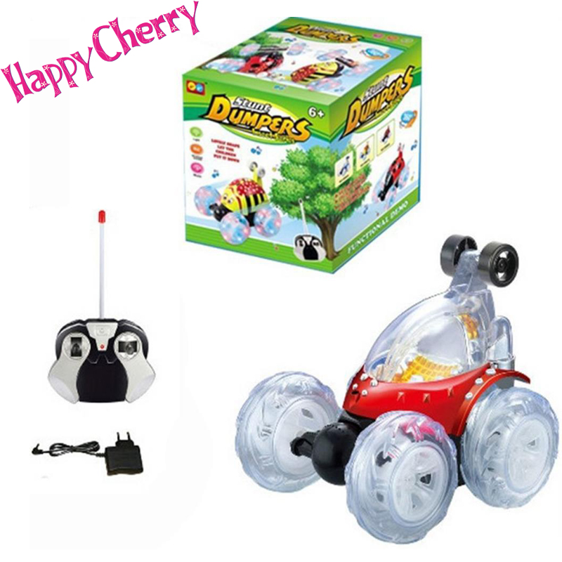 Happy Cherry HUADIFENG Toy RC Stunt Radio Music Remote Control Car Truck Turbo Twister Flip Toy Car with US Plug Charger – Red