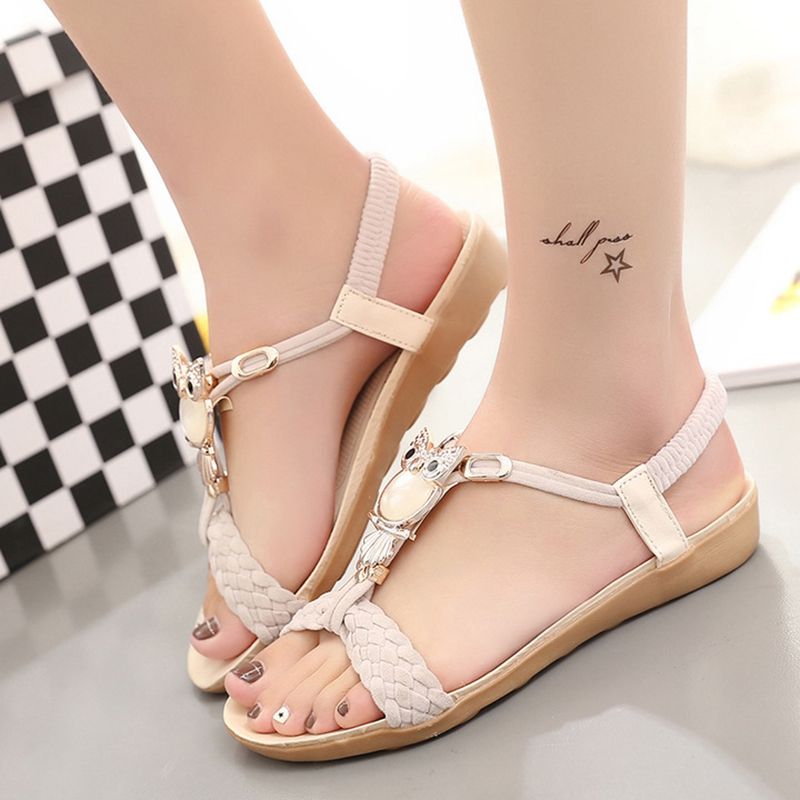 Women Sandals Open Toe Women Shoes Fashion Women Flip Flops Bohemian Casual Women Flat Sandals Owl Ladies Shoes new 2018 women open toe flip flops fashion ankle strap gladiator sandals women big size 34 43 ladies casual flat rome sandals