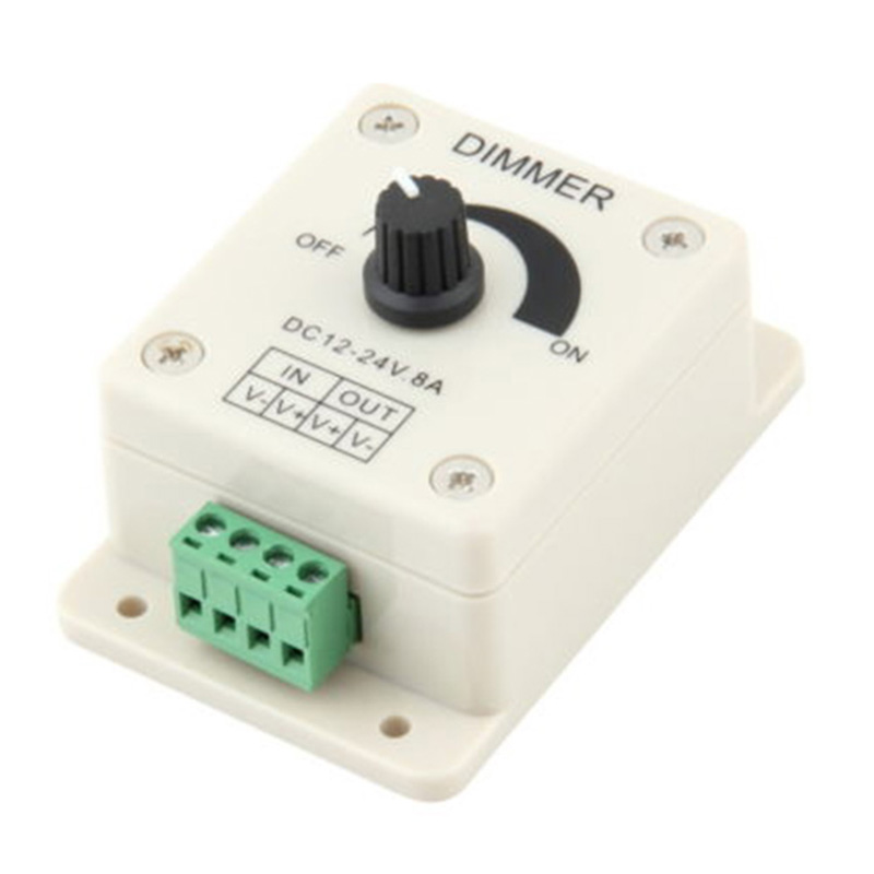 Adjustable LED Strip Light Switch Dimmer Brightness Controller DIY Lighting Controller Tools 12V 8A bedroom silver tone knob adjustable light controller dimmer switch