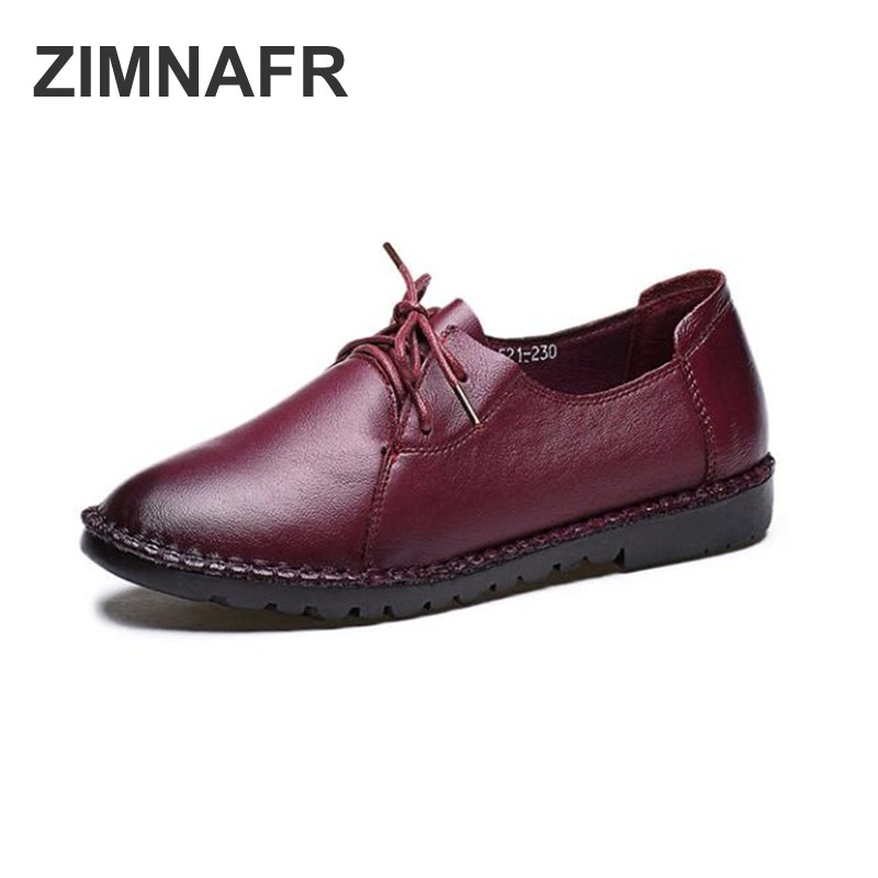 ZIMNAFR BAND WOMEN FLATS LACE-UP ANTISKID MOTHER SHOES GENUINE LEATHER FLATS WOMEN FASHION CASUAL SHOES WOMEN FLATS PLUS SIZE pinsen fashion women shoes summer breathable lace up casual shoes big size 35 42 light comfort light weight air mesh women flats