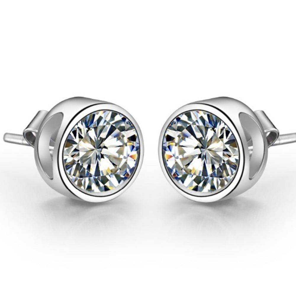 Piece Sona Synthetic Diamonds Stud Earrings For Women 925  Sterling Silver White