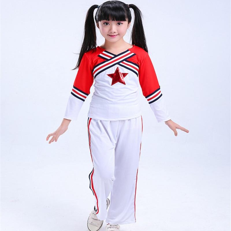 High School Costume Cheer Girls Cheerleader Uniform Party Outfit School Dance Boys Kids Long Sleeve Cheerleader Costume Child